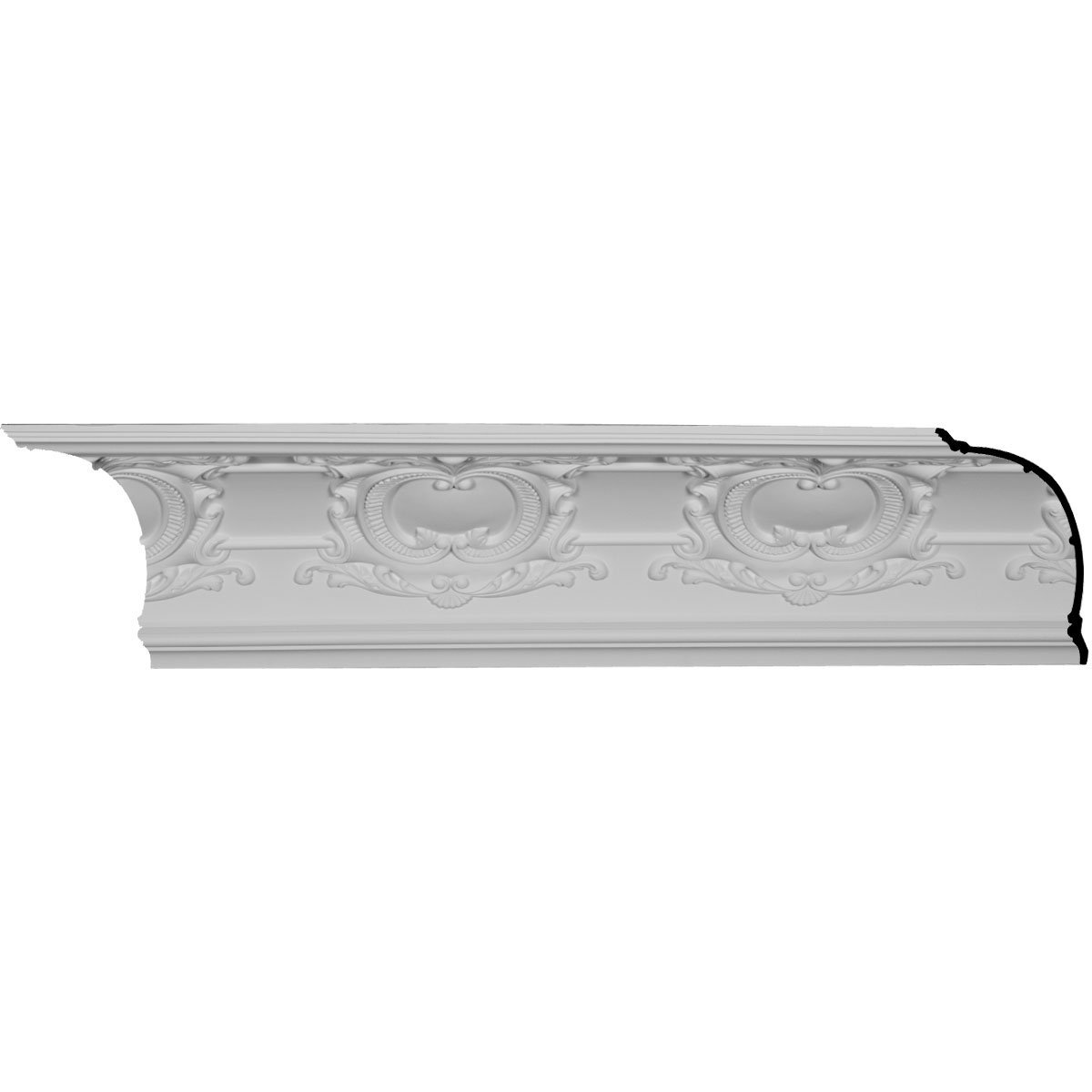 Ekena Millwork MLD12X12X17EM-CASE-8 12'' H x 12-5/8'' P x 17-1/2'' F x 96-1/8'' L Emery Cove Crown Molding with 16'' Repeat (8-Pack)