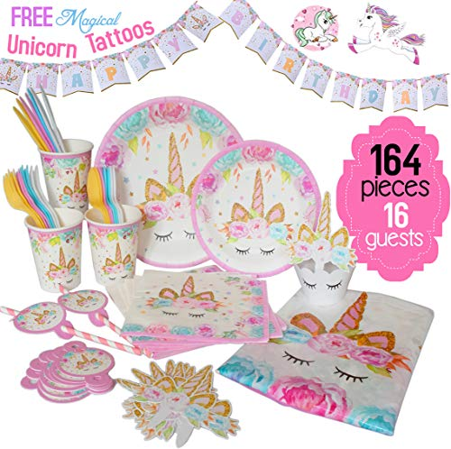 ecoZen Lifestyle Ultimate Unicorn Party Supplies and Plates for Birthday Party | Best Value 164 Decorations Set That Give to Make a Long Lasting Magical Memorable Parties for Your Little Princess