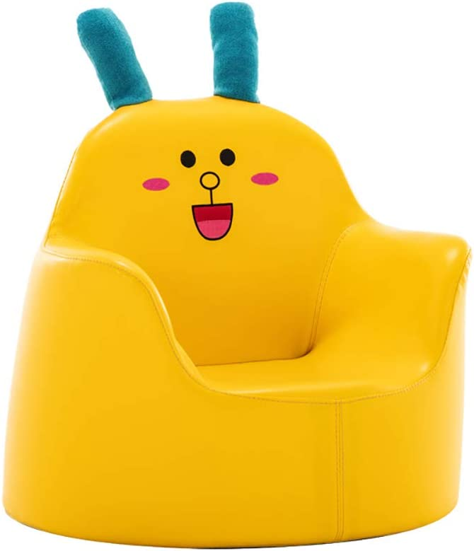 DL&VE Cute Cartoon Shape Children Couch Comfy Leather Kids Armchairs Toddler Furniture for Living Room Bedroom,Childrens Sofa Chairs Yellow 50x50x50cm(19.7x19.7x19.7inch)