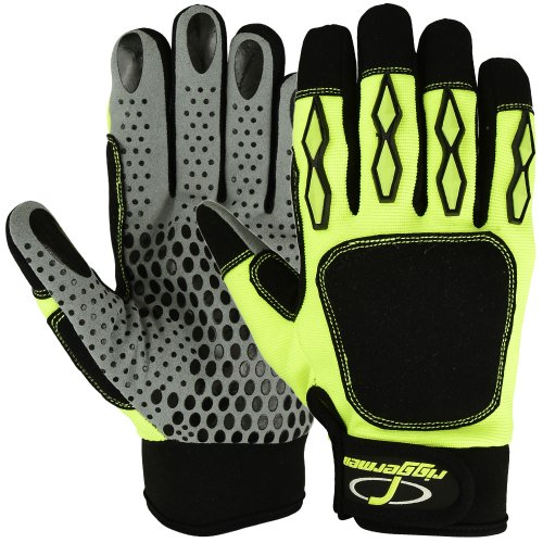 Mechanics Gloves Safety Super Grip Amara Leather Riggermen Glove Impact Hi-vis Oil and Gas Resistant Industrial Glove (X-Large)