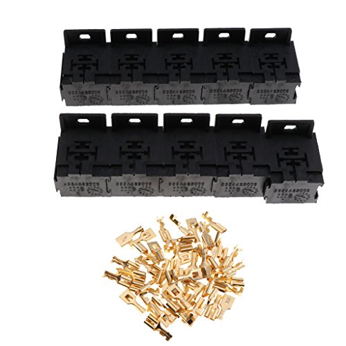 Flameer 10 Sets 30A-80A Relay Base Holder 5 Pin Socket with 50 Terminals 6.3mm Kits