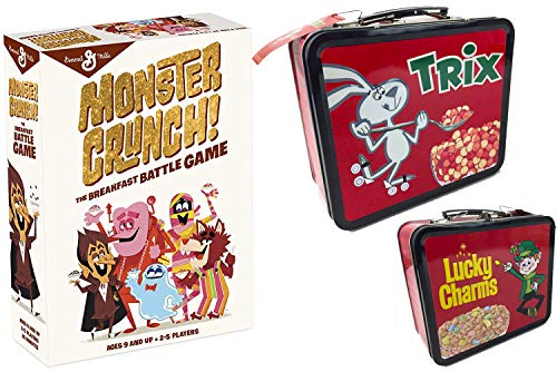 Cereal Breakfast Monsters Game Cards Crunch Fun Battle Bundled with Lucky Charms 2 Sided Tin Trix Rabbit / Frute Brute / Boo-Berry / Count Chocula / Yummy Mummy & Frankenberry -