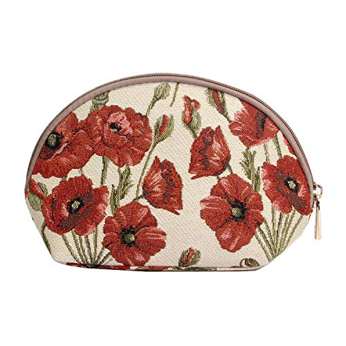 (Signare Tapestry Red and White Makeup Bag Travel Cosmetic Bag Brush Bag for Women Girls with Poppy Flower (COSM-POP))