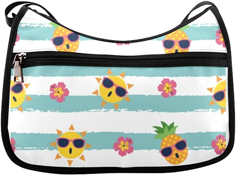 The Sun And Hibiscus Stripes Messenger Bag Crossbody Bag Large Durable Shoulder School Or Business Bag Oxford Fabric For Mens Womens