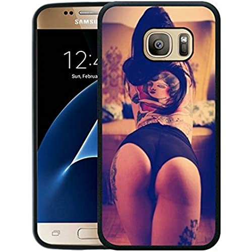 Galaxy S7 Case, Customized Black Soft Rubber TPU Samsung Galaxy S7 Case A sex girl with tattoos at back and legs Sales