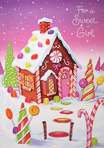 Braille Embossed Christmas Greeting Card - For a Sweet Girl - Gingerbread House Trimmed with (Sweet Greetings Gingerbread)