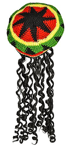 Jamaican Rasta Black Adult Wig - Rasta Hat