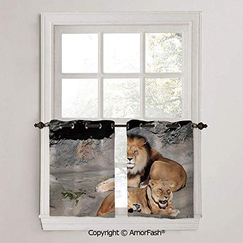 PUTIEN Zoo Curtain Shade Curtains Ultra Soft Kids Room Curtains with Grommets,1 Pair,W42 x L36-Inch,Male and Female Lions Basking in The Sun Wild Cats Habitat King of Jungle ()