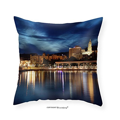 VROSELV Custom Cotton Linen Pillowcase City of Malaga Illuminated at Dusk. Andalusia Spain - Fabric Home Decor 20''x20'' by VROSELV
