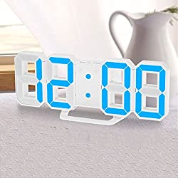 GESIMEI Alarm Clock Snooze LED USB Wall Clock Brightness Adjustable Digital Clock Blue