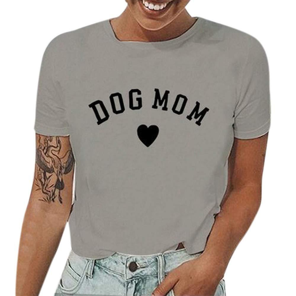 Yaseking Women Fashion Summer T-Shirts, Casual Crewneck Girl Tops Tee Letter Heart Printed T Shirt (M, Gray)