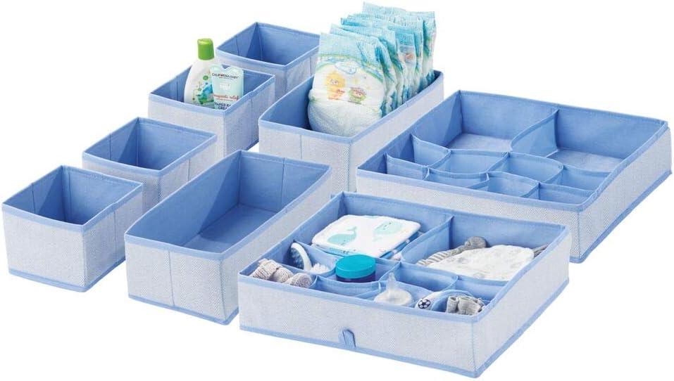 mDesign Soft Fabric Dresser Drawer and Closet Storage Organizer Set for Child/Kids Room, Nursery - Includes Organizer Bins in 3 Sizes - Herringbone Print with Solid Trim - Set of 8 - Blue