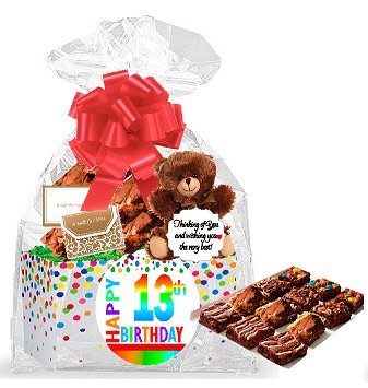 13th Birthday / Anniversary Gourmet Food Gift Basket Chocolate Brownie Variety Gift Pack Box (Individually Wrapped) 12pack