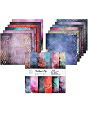 ZIIVARD Scrapbook Paper Pack 24 Sheets Bright Color Scrapbooking Kit Pad Paper for Photo Album DIY Origami Art Background Collection Holiday Decoration,15.2 X 15.2CM