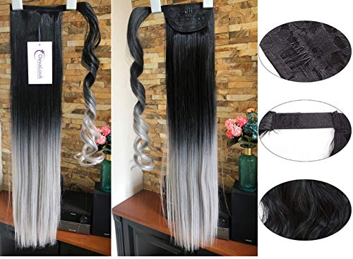 20 22 Long One Piece Straight Curly Wavy Clip in Wrap around Ombre Ponytail (22Straight- Black to grey)