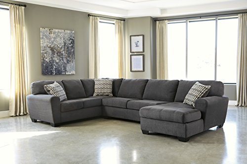 Ashley Furniture Signature Design - Sorenton Contemporary 3-Piece Sectional - Right Arm Facing Corner Chaise, Armless Loveseat, & Left Arm Facing Sofa - Slate Gray