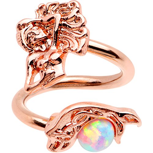 Body Candy 14G 316L Rose Gold PVD Steel Navel Ring Piercing Mermaid Spiral Twister Belly Button Ring