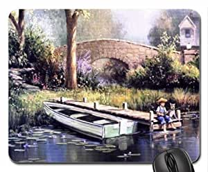 Fishing with my dog... Mouse Pad, Mousepad (Rivers Mouse Pad)