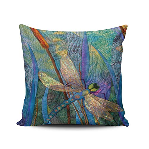 (ANLIPU Personalized Decorative Pillowcases Colorful Dragonflies Throw Pillow Covers Cases Square Size 20x20 Inches Print on Two Sides)