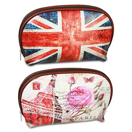 2x sacca di PVC PVC sacchetto Union Jack Paris Borsa Borsetta assortiti 22,5x 2,5cm