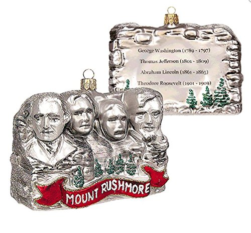 Mount Mt. Rushmore South Dakota Mounument President Washington Jefferson Lincoln Roosevelt Polish Glass Christmas Ornament Travel Souvenir Decoration