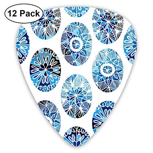 (Easter Russian Blue And White Porcelain Eggs Ultra Light 0.46 Medium 0.73 Heavy 0.96mm Printed Round Flat Soft Plastic Jazz Electric Acoustic Bass Guitar Pick Accessories Variety)
