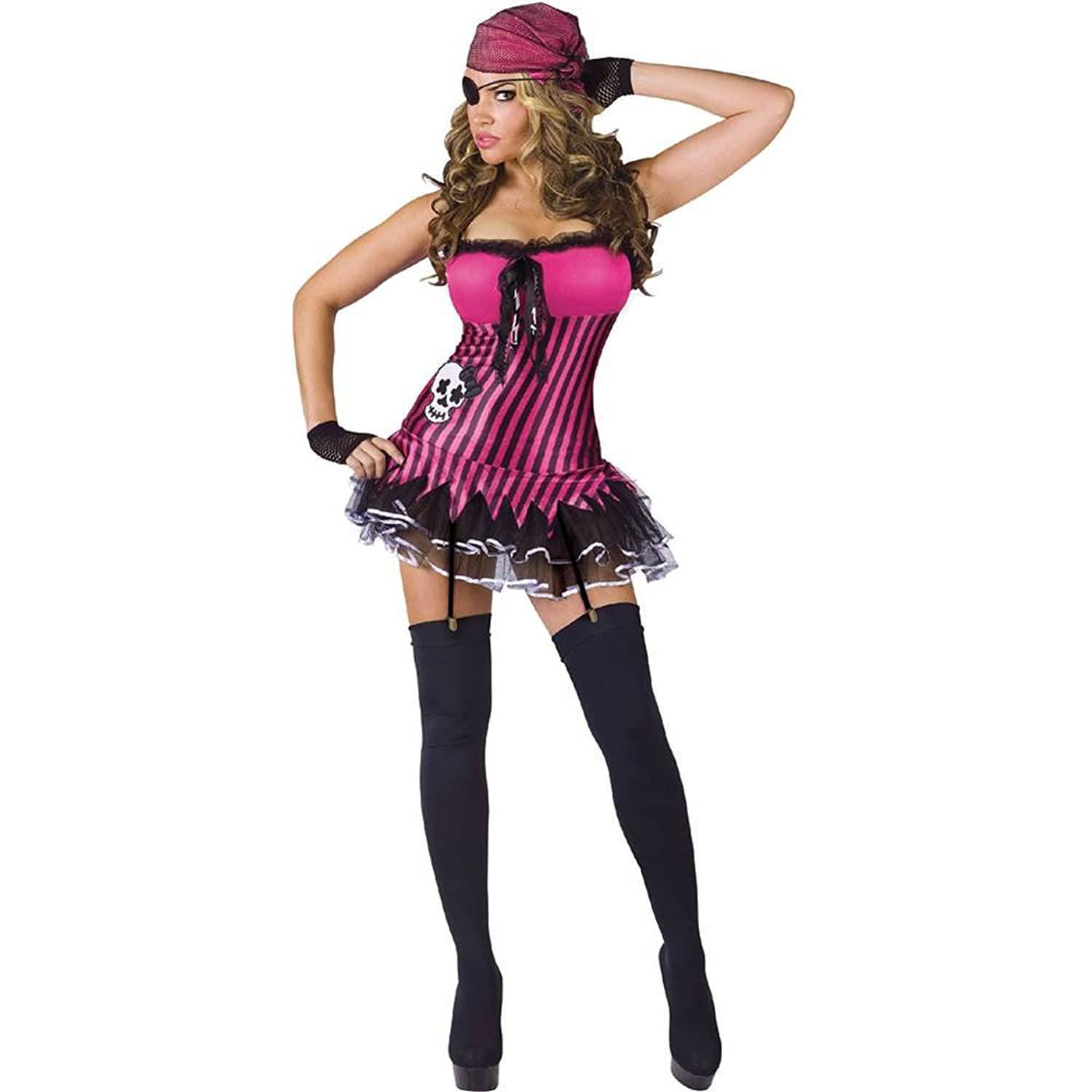 FunWorld Women's Rockin Skull Pirate Adult Costume
