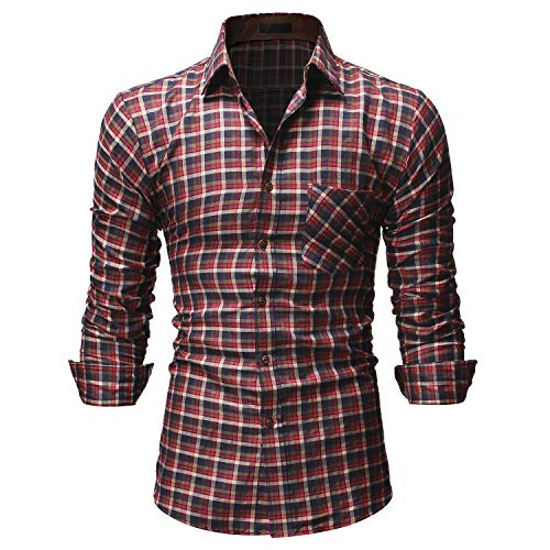 TS,RD.UG Mens Plaid Shirts Long Sleeve Casual Checkered Button Down Dress Shirt (Brown,XXL)