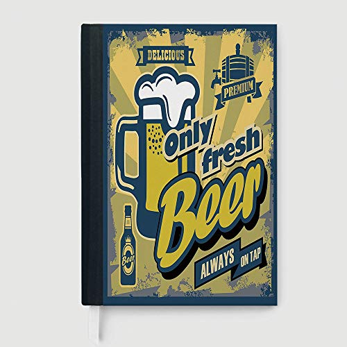 Man Cave Decor,Business Notepad Daolin Paper,Delicious Fresh Premium Beer Old Fashion Graphic Design Bottle Keg Mug Foam Decorative,96 sheets/192 pages,B5/7.99x10.02 in