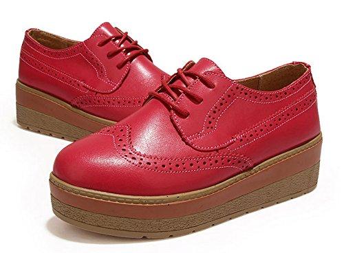 Padgene Chaussures de ville à lacets Talons Epais Plate PU Cuir Brun Noir Rouge Grand Taille 33 34 35 36 37 38 39 40 Femme Fille Rouge