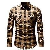 Goddessvan Men's Slim Fit Button Plaid Shirt with Pocket Casual Long Sleeve Tops Blouse(Beige?,L)
