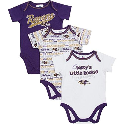 NFL Baltimore Ravens Bodysuit (3 Pack), 3-6 Months, Purple/White