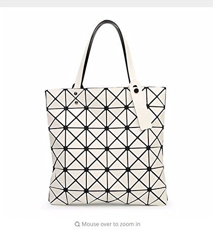 Bag Female Folded Geometric Plaid Bag Fashion Casual Tote Women Handbag Shoulder Bag Style Japan (White - Shopping Saint Bag Laurent