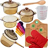 "vision cookware - VISIONS 7-pc Glass Cookware Set, 3-pc Bamboo Cutting Board Set, 1 Pair Cooking Gloves And Baker's Secret Set: Measuring Cup, 12"" Wood Spoon And 5-pc Measuring Spoon Set"