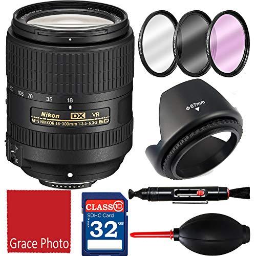 Nikon AF-S DX NIKKOR 18-300mm f/3.5-6.3G ED VR Zoom Lens for Nikon DSLR Cameras + Accessories (7 Items)