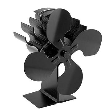 AOHMG Stove Fan, Ventilador para Estufa Operado por Calor para leña/Estufa de leña/Chimenea 4 Hojas Respetuoso con el Medio Ambiente,Black_9x7inch: ...
