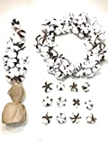 Old Country Barn 20'' Cotton Wreath, 24'' Cotton Tree, 12 Cotton Pods- Complete Home Decor Bundle for Farmhouse Decorating