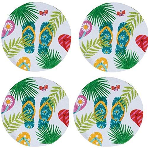 Flip Flops and Palms Braided Placemats Kitchen or Dining Table Set of 4 Round (Flip Flop Kitchen)