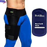 Body Help Hip Brace Support + Blue Hot Cold Reusable Pack for Immediate Pain Relief - Best Thigh Belt for Men Women Groin Compression Sleeve Wrap Hamstring Strap for Nerve Sciatic Arthritis