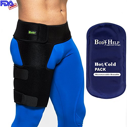 Body Help Hip Brace Support + Blue Hot Cold Reusable Pack for Immediate Pain Relief - Best Thigh Belt for Men Women Groin Compression Sleeve Wrap Hamstring Strap for Nerve Sciatic Arthritis by Body Help