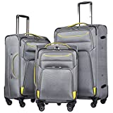 Coolife Luggage 3 Piece Set Suitcase Spinner Softshell lightweight (gray+yellow)