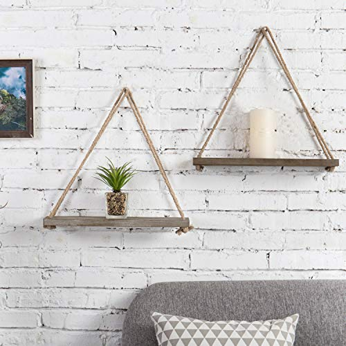 MyGift 17-inch Rustic Whitewashed Brown Wood Hanging Rope Swing Shelves, Set of 2 by MyGift (Image #2)