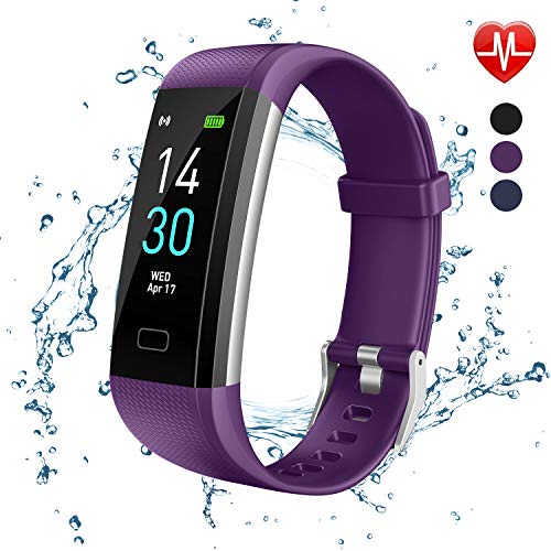 Fitness Tracker, Activity Tracker Watch With Heart Rate Monitor, Message Notification, Waterproof IP68 Pedometer With Step Counter Sleep Monitor Calorie Counter For Android & IPhone(Purple)