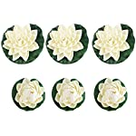UEETEK-6pcs-Artificial-Lifelike-Foam-Pond-Plants-Lotus-Lilies-for-Home-Decor-White