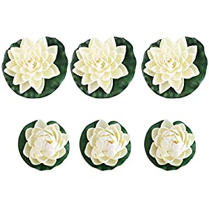 FENICAL Pond Plants Artificial Lotus Water Lilies Pack of 6pcs 14