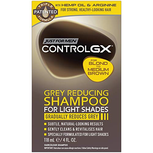 Just For Men Control GX Grey Reducing Shampoo, For Lighter Shades of Hair from Blonde to Medium Brown, 4 Ounce