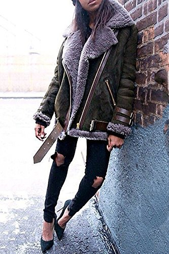 Jacket Style Fashion Street Fleece Motorcycle Outdoor Minetom Cool Casual Coat Khaki Winter Outwear Warm Women Parka Suede wzxCHFq