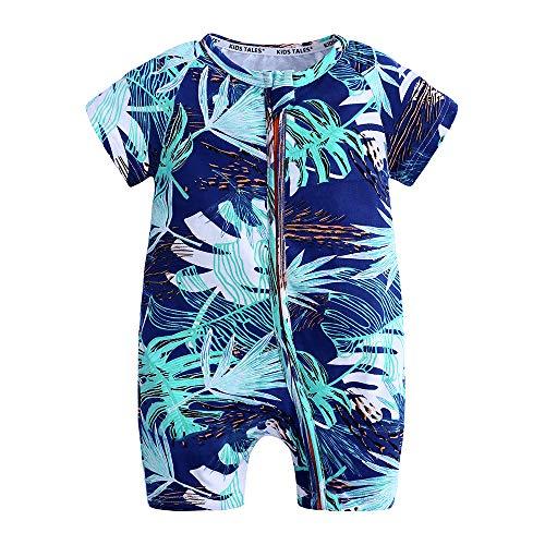 Kids Tales Summer Baby Boy Short Sleeve Pajamas Boys Sleeper Zebra Zipper Romper Navy Blue