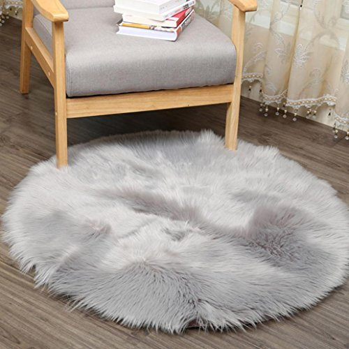 Iusun Soft Artificial Wool Warm Rug Hairy Carpet Seat Pad Artificial Sheepskin Rug Chair Cover 11.8inch (Gray)
