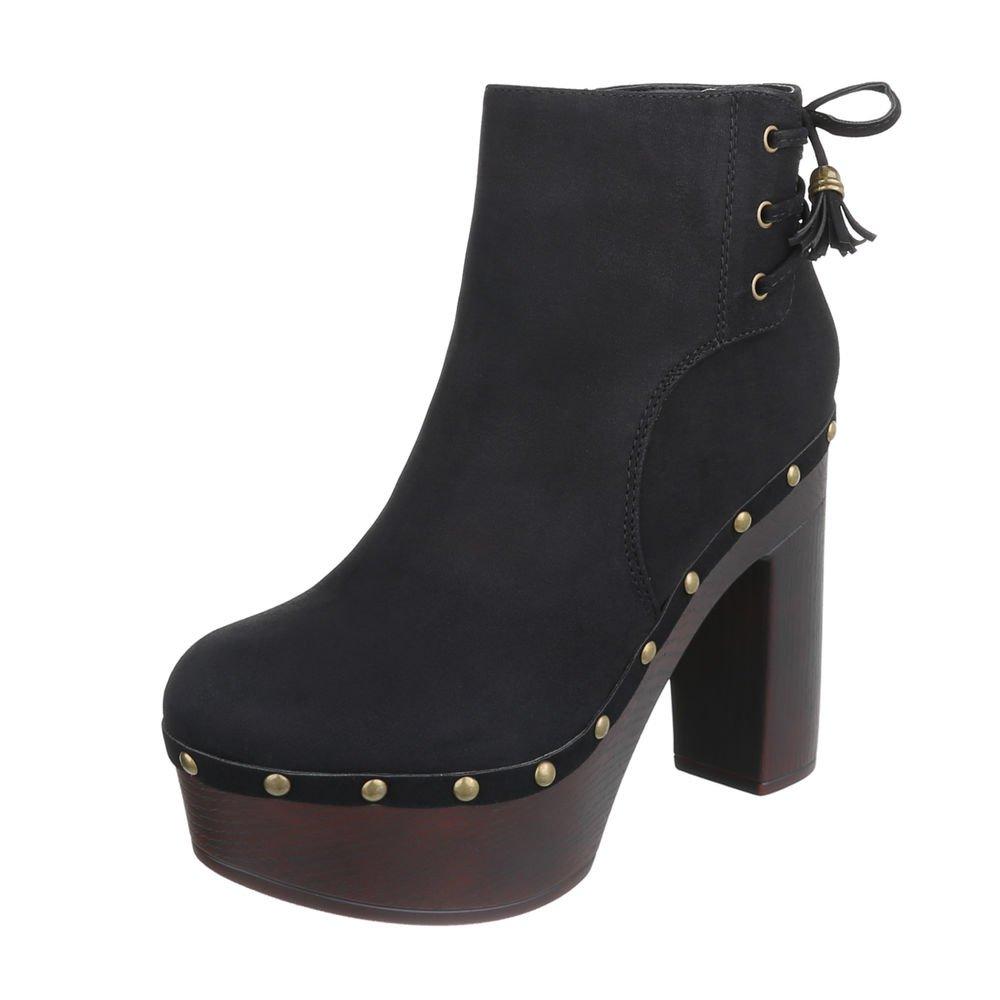 Ital-Design High Heel Stiefeletten Damenschuhe Schlupfstiefel Pump High Heels Reißverschluss Stiefeletten  40 EU|Schwarz 55-544